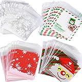SERWOO (10 * 10+3cm) 400 Stück Selbstklebend OPP Tütchen Weihnachten Tüten Plastiktüten klein Candy Tüten BonBon Tüten Flachbeutel für Plätzchen Gebäck Süßigkeien Schoolade