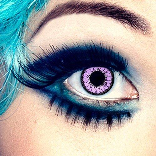 aricona Farblinsen farbige Kontaktlinsen mit Stärke pinke 12 Monatslinsen | natürliche Jahreslinsen für Big Eyes | bunte Contact Lenses für dein Cosplay Kostüm | - 1,5 Dioptrien
