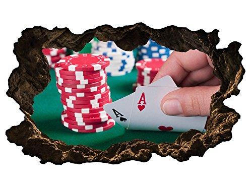 3D Wandtattoo Poker Spiel Casino Glück Ass Bild selbstklebend Wandbild sticker Wohnzimmer Wand Aufkleber 11H971, Wandbild Größe F:ca. 162cmx97cm - Ass Latex