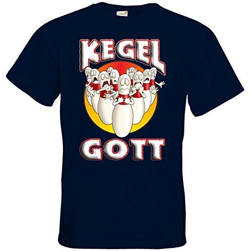 getshirts - RAHMENLOS® Geschenke - T-Shirt - Kegelgott - Angry Pins Navy
