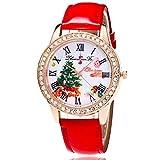 Newin Star Weihnachten Armbanduhr Kunstleder-Band Quarz-Uhr für Damen Exquisite Elegante Mädchen Frauen Armbanduhr mit Strassrand Gutes, Weihnachtsbaum