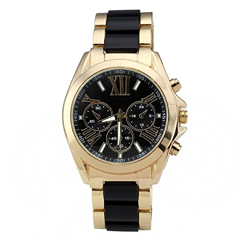 JSDDE Uhren,XL Gold Herren Chrono Business Armbanduhr Drei unecht Chronograph Designer Panzerarmband Analog Quarzuhr (Schwarz/Gold)