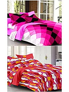 Story@Home 120 TC 100% Cotton Set Of 2 Double Bedsheet With 4 Pillow Cover Hot Pink & Red
