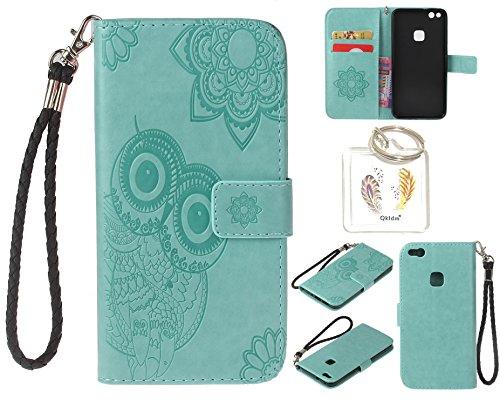 Preisvergleich Produktbild für Huawei P10 Lite PU Leder Silikon Schutzhülle Handy case Book Style Portemonnaie Design für Huawei P10 Lite + Schlüsselanhänger ( WAQ (3)