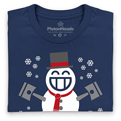 PistonHeads Smiley Snowman T-Shirt, Herren Dunkelblau