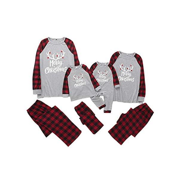 Borlai Pijamas Navidad para Familias Invierno Otoño Top+Pantalones Ropa de Dormir para Mamá Papá Niños Bebé Conjuntos… 1