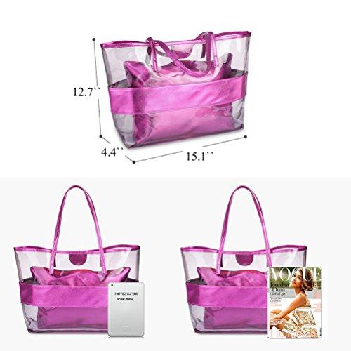 Honeymall Borsa Mare Borse da Spiaggia Tote Donna Borse Shopper in Pvc trasparente ed impermeabile Rosa