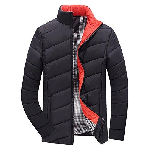 Highdas Homme Regular Fit Classic Solid Coat Winter Cotton Noir