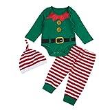 FYMNSI Baby 1. Weihnachten Outfit Kleinkinder Mädchen Jungen Elf Bodysuit Bekleidungsset Langarm Strampler Spielanzug Streifen Hose Hut 3 Stück Festliche Weihnachtsoutfit 12-18M