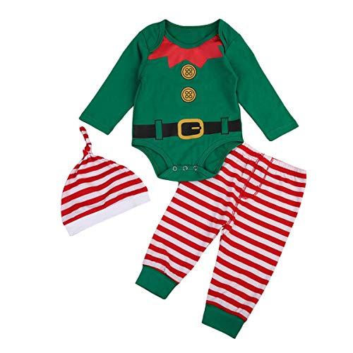 FYMNSI Neugeborenes Baby Mächen Jungen Weihnachtself Outfit Langarm Strampler Spielanzug Gestreift Hose Hut 3tlg Kleinkinder Unisex Erstes 1. Weihnahcten Party Bekleidungsset Fotoshooting 0-3 - Weihnachtself Baby Kostüm