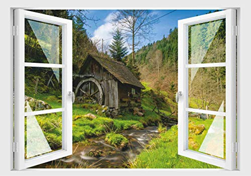 Skins4u Fenster 3D Optik Wandtattoo Wandbild Aufkleber 80x55cm Dekoration Bild Foto Tapete 80x55cm Motiv Schwarzwald Mühle Bach -