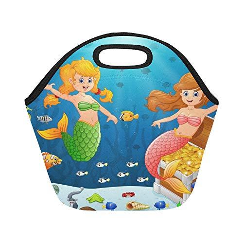 Isolierte Neopren Lunch Bag Meerjungfrau unter Meer große wiederverwendbare thermische dickes Mittagessen Tragetaschen für Lunch-Boxen für draußen, Arbeit, Büro, Schule