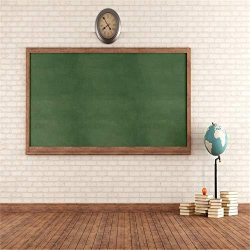GzHQ 10x10ft Vinyl Fotohintergrund Fotografie Hintergrund leer Klassenzimmer grün Tafel Ziegelmauer schwarz braun Boden Holz Fotohintergrund Bücher Globus Uhr Tafel Schüler Schule Prop -