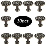 Retro Antik Möbelknopf - Schubladengriffe,Antiker Knopf Für Schrank Schubladenschrank Kleiderschrank Tür- Bronze-Zink-Legierung - Packung mit 10