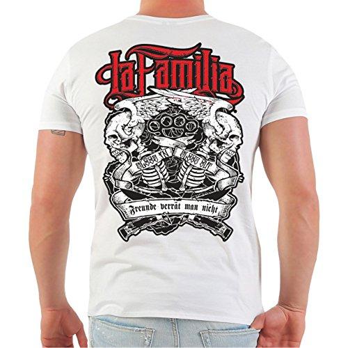 Männer und Herren T-Shirt Viva La Familia (mit Rückendruck) Größe S - 8XL Weiß