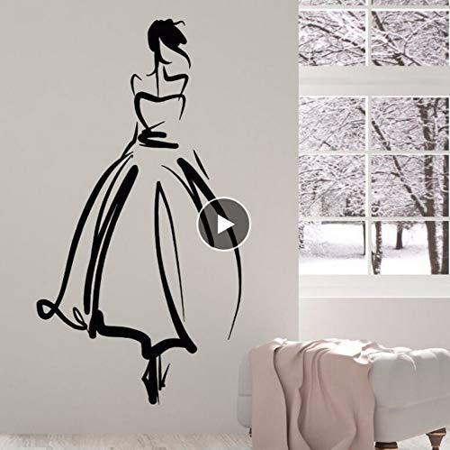 Vinyl Wandtattoo Prinzessin Schöne Dame Aufkleber Hochzeit Salon Braut Wandkunst Wand Hochzeit Shop Dekoration 57 * 106 Cm ()