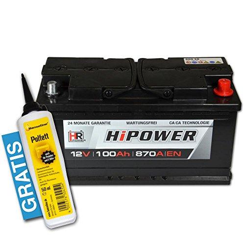 HR HiPower Autobatterie 12V 100Ah inkl. Polfett ersetzt 88 90 92 95 Ah Starterbatterie KFZ-Batterie