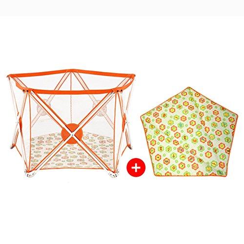 Tragbares Baby-Laufgitter-Jungen-Mädchen scherzt 5 Platten-Sicherheits-Spiel-Mitte-Yard-Hauptinnenraum im Freien vielseitig (Farbe : Orange - Baby-mädchen-spiel-yard