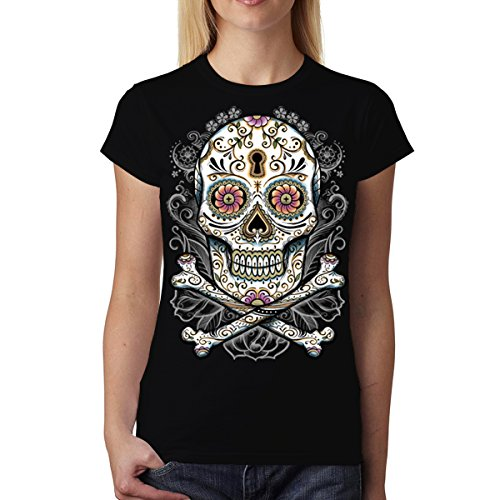 Teschio Floreale Donna T-Shirt S-2XL Nuovo Nero