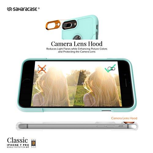 Funda iPhone 7 Plus, (Aqua) Kit Funda Protectora SaharaCase con [Protector de Pantalla de Vidrio Templado ZeroDamage] Fuerte Protección Antideslizante [Cubierta Anti-golpes] Fino y Elegante