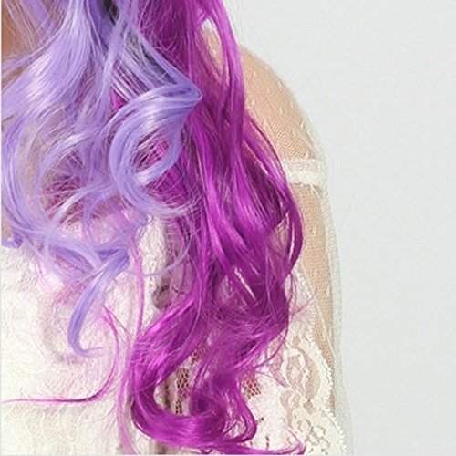 JESSIEJESSIE 60cm Long Wavy Curls Cosplay Wig Oblique Bangs Three-color Bleach Dyed For Nightclubs Party  Color   Three-color