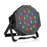 LED Par Licht, Blusmart 24W 18 LED Discolicht mit Musik-activated, Auto-run und DMX512 Steuermodus, Verschiedene Farben Kombinationen von Rot, Grün und Blau, Multi-Winkel drehendem Halter, Europäische Norm-Stecker (18 LED)