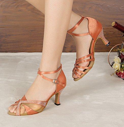 Minitoo Ladies Mesh Schicke Sandalen Latein Tanzschuhe Orange