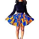 Uranus Women Circled Print African Ethnic Style Short Skirt Dress