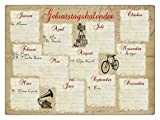 INTERLUXE KALENDER Metall GEBURTSTAGSKALENDER ALTE SCHRIFT Wandkalender Vintage Geschenk Dekoration Haus Wohnung