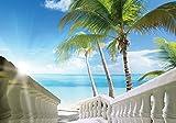 Tapeto Fototapete - Strand Tropisch See Palmen - Vlies 254 x 184 cm (Breite x Höhe) - Wandbild Sonne