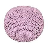 Homescapes Sitzhocker Strickpouf rund rosa Sitzkissen Strick Pouf Bodenkissen, grob Gestrickter Bezug aus 100% Baumwolle, Füllung aus 100% Polystyrol