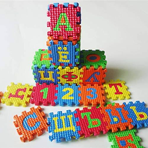 TLfyajJ 36Pcs/Set Russian Alphabet Jigsaw Carpet Eva Baby Kids Puzzle Learning Mat Toy,Hergestellt aus hochwertigem Eva, sicher und ungiftig -
