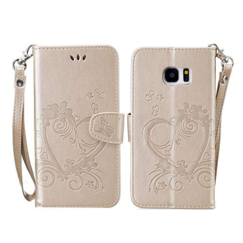 2aecb5676af CXTcase Funda Samsung Galaxy S7 Edge, Funda Billetera De Piel con Función  Stand Ranura Tarjeta