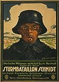 """Poster, deutsches Propaganda-Plakat, Aufschrift """"Deutsche Männer schützt Eure Heimat. Tretet ein bei'm Sturmbataillon Schmidt"""", Erster Weltkrieg 1914-18, Vintage, A3, 250g/qm, glänzend"""