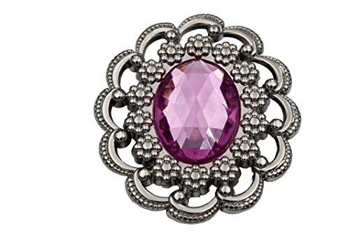 hübsche silber glänzende Brosche zum Anstecken silber lila pink ca.50mmx43mm (1 ()