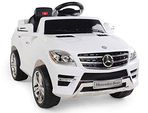 Mondial Toys AUTO ELETTRICA PER BAMBINI 6V 2 MOTORI CON TELECOMANDO 2.4G MERCEDES BENZ ML 350 SUV BIANCA