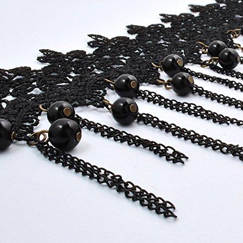 Jane Stone Collier Ras du Cou Pendant Gothique Lace Dentelle Noir Fleur Lolita Retro Vintage Femme Bijoux Accessoires Tendance Lace-NEW-4