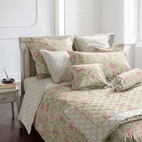 Laura Ashley Bettwäsche Aus Baumwolle (Laura Ashley Kuschelkissenbezug Satin rosé-lindgrün-weiß Größe 40x40 cm)