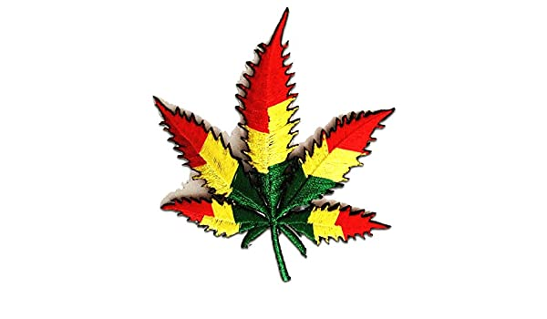 Cannabis Marijuana Weed 6,4 x 9,5 cm Aufnäher // Bügelbild bunt