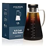 Cold Brew Coffee Maker - Luftdichte Kaffeemaschine für kalten Kaffee und Teesieb mit Ausguss - 1,5L / 51oz Ovalware RJ3 Brühglaskaraffe mit abnehmbarem Edelstahlfilter