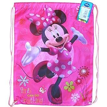 Boys & Girls Colourful Disney Drawstring Swim Gym Bag (Minnie Mouse)