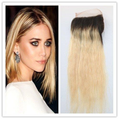 100% cheveux humains vague Texture Fermeture Dentelle Suisse sur le dessus 10,2 x 10,2 cm supplémentaire gratuit avec blanchis Couleur blond décoloré