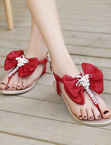 UWSZZ IL Sandali eleganti comfort Scarpe Donna-Sandali-Tempo libero / Formale / Casual-Infradito-Piatto-Finta pelle-Nero / Blu / Viola / Rosso Blue