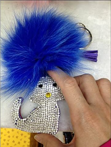 1x Fausse Fourrure Porte-clés Chat strass bijoux support e0353–1(Fourrure Bleu PU Strass Bleu et Blanc)