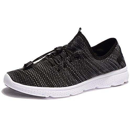 KALEIDO Herren Leichtes Gym Sportschuhe Fitness Sneaker Laufschuhe Turnschuhe N-Black 42