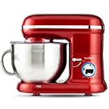 VonShef 1260W Küchenmaschine Rührmaschine Knetmaschine - Geräuscharm und 5,5L Rührschüssel mit Spritzschutz – Inklusive Quirl, Knethaken & Schneebesen - Rot