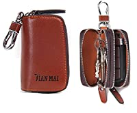 Contacts Genuine Leather Car Key Case Holder Double Zipper Keychain Wallet Coin Purse Brown