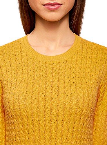 oodji Collection Femme Pull en Maille Texturée à Petites Tresses Jaune (5200N)
