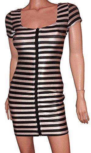 3-W-Hohenlimburg, Modell 6747, sexy Gefängnis Set mit Mütze, Uniform, Kostüm, mit Front-Reißverschluss, Gr. M-L, weiß-schwarz-gestreift, elastisch, hauteng und mega sexy, Damen Dessous Unterwäsche