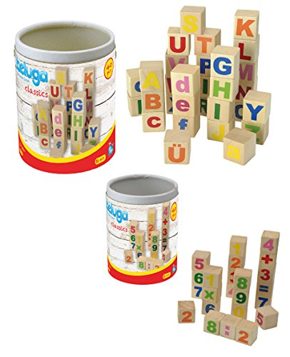 Bausteine aus Holz ABC Alphabet und Zahlen Rechenzeichen 2 Trommeln